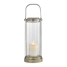 Fillmore Outdoor LED Table Lantern, Champagne Silver, Clear