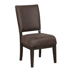 Solid Wood Side Chair With Padded Faux Leather Upholstery  Pack Of Two  Brown