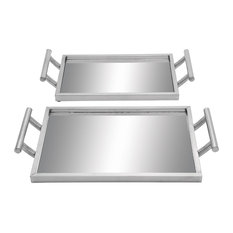 Glam Silver Metal and Mirror Serving Trays With Handles, 2-Piece Set