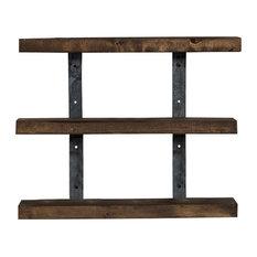 Del Hutson Designs - Industrial Grace 3-Tier Floating Shelves, Dark Walnut - Display and Wall Shelves