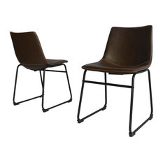 Modern Faux Leather Dining Chair, Set of 2, Coffee