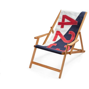 Recycled Sailcloth Oak Deck Chair, White, Blue and Red