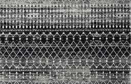 """Moroccan Blythe Contemporary Area Rug, Black, 6'7""""x9'"""