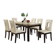7piece 2tone dining set marblestle table top with