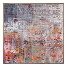 JOHN-RICHARD Painting Abstract Metallic Frame Canvas Wood