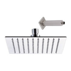Ultra-Thin Square Rain Shower Head By Serene Steam, Brushed Satin, 8""