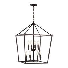 "Pagoda 20"" 8-Bulb Lantern Metal LED Pendant, Black"