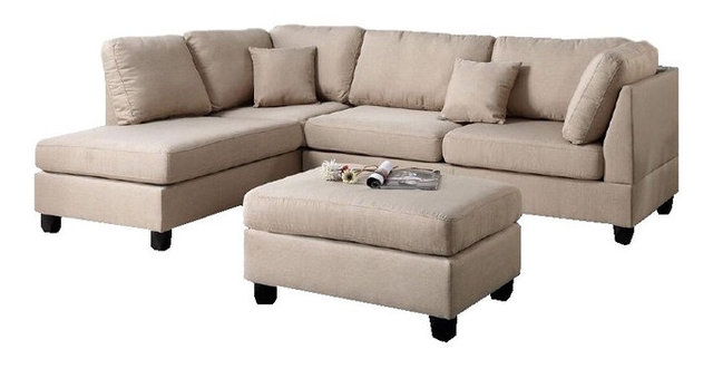 3Piece Sectional Sofa with Reversible Chaise and Ottoman