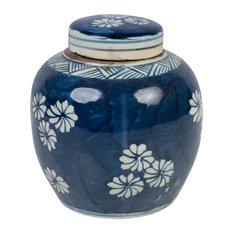 "Beautiful Blue and White Floral Flower Porcelain Ginger Jar, 6"""