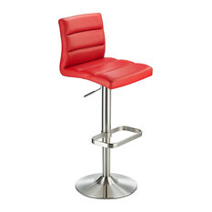 Swank Adjustable Padded Faux Leather Kitchen Bar Stool, Brushed Steel, Red