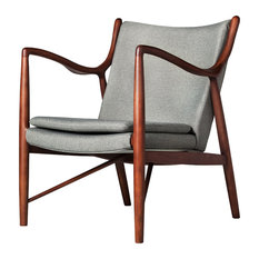design tree - Walnut Arm Chair, Light Gray - Armchairs and Accent Chairs