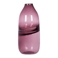 Vases Hand Blown Art Glass Vase, Optic Contemporary Vases,Purple