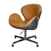 Duval Swivel Office Chair, Distressed Caramel