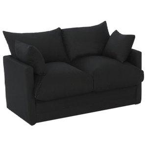Sofa Bed in Black Cotton Drill, Simple Modern Design