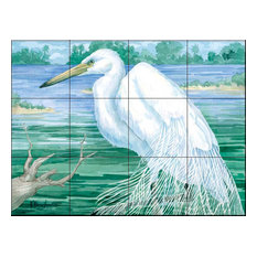 Tile Mural, American Egret by Paul Brent