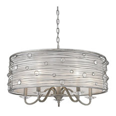 Joia 5 Light Chandelier Peruvian Silver Sterling Mist Shade