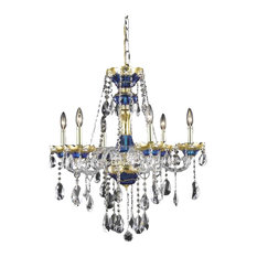 Elegant Alexandria 6-Light Blue Chandelier Clear Elegant Cut Crystal