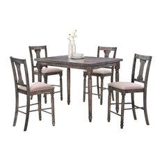 furniture import u0026 export inc demi 5piece dining table set smoked