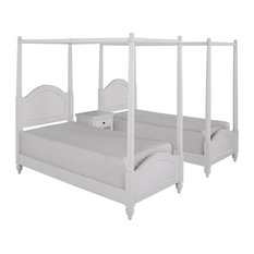 Home Styles Bermuda 2 Twin Canopy Beds and Night Stand in White