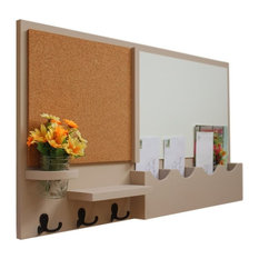 Message Center With Whiteboard, Corkboard, Mail Slots, Hooks, Beige, Smooth
