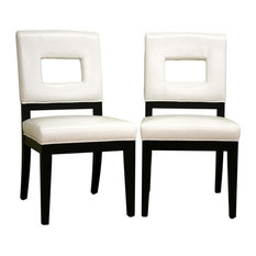 Baxton Studio Faustino Leather Dining Chair, Set of 2, Cream