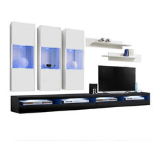 Fly E2 35TV Wall Mounted Floating Modern Entertainment Center White/Black