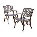 GDF Studio Covington Outdoor Cast Aluminum Dining Chairs, Set of 2
