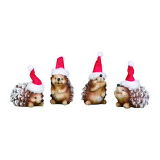 4-Piece Small Resin Holiday Hedgehog