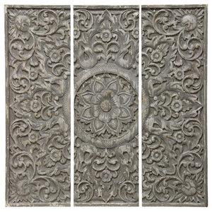 """3-Piece Set Wooden Wall Panels, 11""""x33"""""""