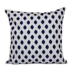 """Cop-Ikat Geometric Print Outdoor Pillow, Spring Navy, 20""""x20"""""""