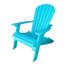 Phat Tommy Folding Recycled Poly Adirondack Patio Chair, Island Teal