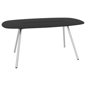 Small A-Lowha Long Board Table, Black, Stainless Steel Frame