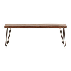 World Interiors   Walnut Acacia Wood Dining Bench   Dining Benches
