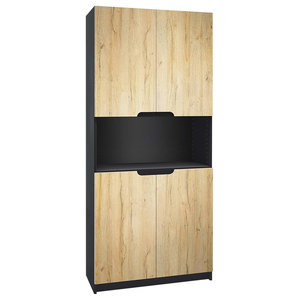 Modern Storage Cabinet, MDF With 2-Door, Open and Internal Shelves, Oak Nature