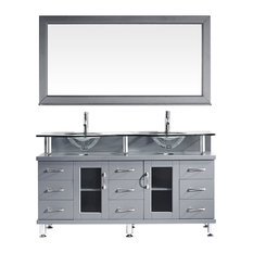 "Vincente Rocco 59"" Double Bathroom Vanity Set, Gray, Clear Glass Top"