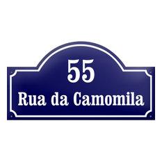 Rue de Camomila Enamelled Plaque, Blue, With Border