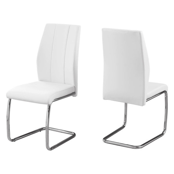 Monarch Leather Dining Side Chairs, White, Set of 2