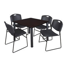 Kee 36-inch Square Breakroom Table Mocha Walnut/Black And 4 Zeng Stack Chairs