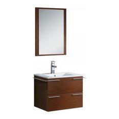 Fresca Cielo 24-inch Wenge Brown Modern Bathroom Vanity With Mirror