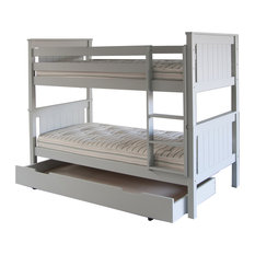 Classic Beech Bunk Bed With Trundle, Dove Grey, UK Single