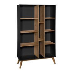 Rustic Vandalia Bookcase, Dark Gray/Natural Wood