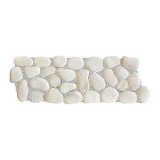 """12""""x4"""" White Pebble Stone, Interlocking Tile Border"""