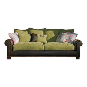 Fabric and Leather Upholstered Green Sofa  Tecninova