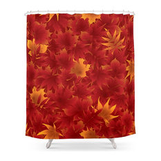 Seamless Red Maple Leaves Pattern Shower Curtain