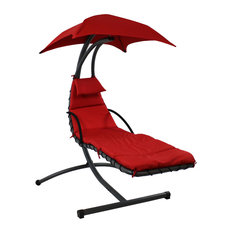 Sunnydaze Floating Chaise Patio Lounger Swing Chair With Canopy, Red