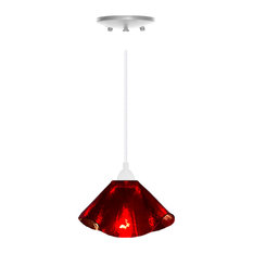 Jezebel Radiance Lily Pendant, Small, Ruby Red Glass, White Hardware