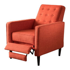 GDFStudio   Macedonia Mid Century Modern Tufted Back Fabric Recliner, Muted  Orange   Recliner Chairs