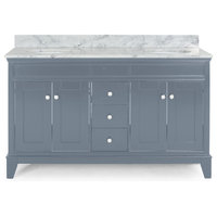"""Gina Contemporary 60"""" Wood Double Sink Bathroom Vanity With Marble Counter Top"""