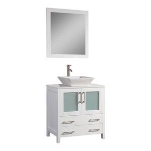 Vanity Art Vanity Set With Vessel Sink, White, 30