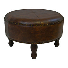 Faux Leather 24 in. Brown Round Ottoman